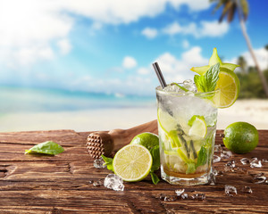 Summer mojito drink on beach