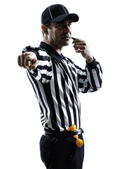 american football referee whistling silhouettes