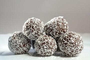 Christmas cookies - rum balls in coconut