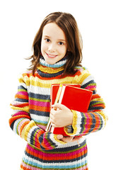 Beautiful schoolgirl with books on white background