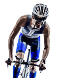 Fototapety man triathlon iron man athlete cyclists bicycling