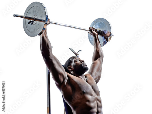 body builders building weights man  silhouettes - 64570431