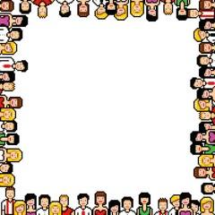 pixel art people frame vector illustration