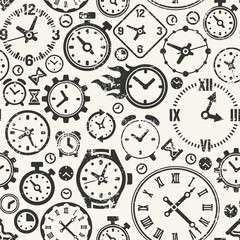 Seamless background with clocks