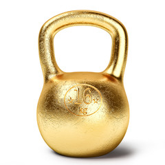 Golden kettlebell weight isolated on white background