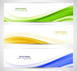 Brazil flag concept three colorful wave header set design