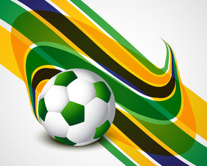 Brazil flag concept stylish wave Soccer background colorful vect