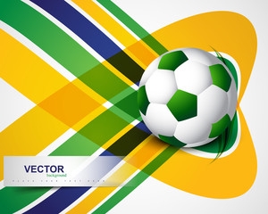 Beautiful Brazil flag concept wave colorful Soccer background ve
