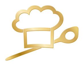 Goldene Kochmütze mit kochlöffel