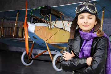 Flying, aviator- girl ready for travel around the world