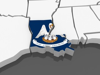 Three-dimensional map of Louisiana. USA.