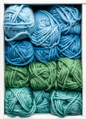 Blue, Green and Teal Balls of Wool for Knitting