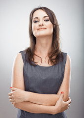 Business woman arms crossed. Isolated