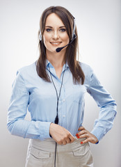 Operator call center. Customer service woman.