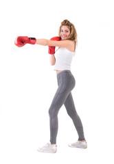 Kickboxing girl exercise in studio