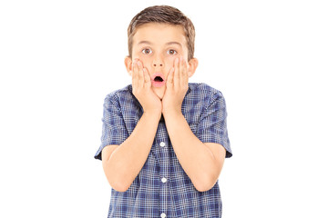 Scared boy gesturing surprise