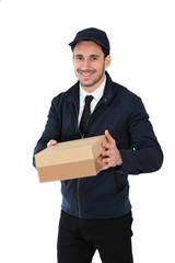 Smiling delivery man holding cardbox, isolated