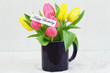 Happy Birthday card with colorful tulips