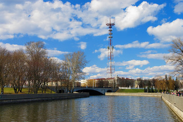 TV Tower and Svislach river in Minsk, Belarus