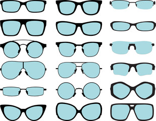 set of vector glasses with blue lenses on white background