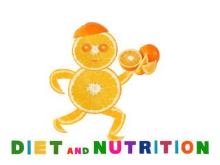 Healthy eating. Funny running little man made of the orange sli