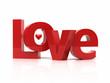 Love 3d text. Romance concept