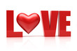 Love 3d text.  Relationship concept