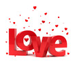 Love 3d text. Wedding concept