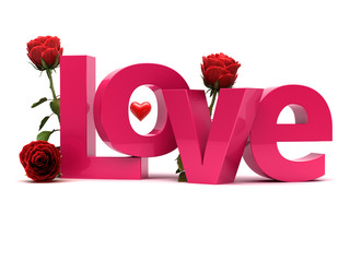 Love 3d text with roses. Romantic concept