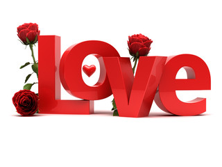 Love 3d text with roses. Wedding concept