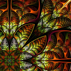 Diagonal symmetric pattern of the leaves in brown. Collection -