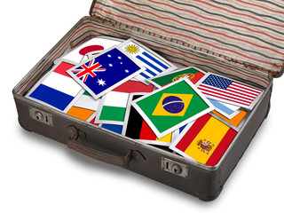 Flag instant photos on antique brown suitcase
