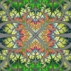 Symmetrical fractal pattern. Collection - tree foliage. Green, y
