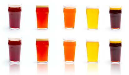 Set Glass of beer isolated on white