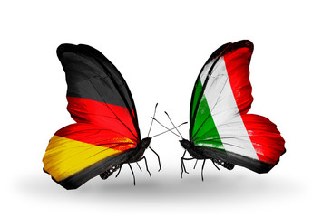 Two butterflies with flags Germany and Italy