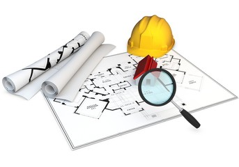 3d Blueprints, magnifying glass and hard hat