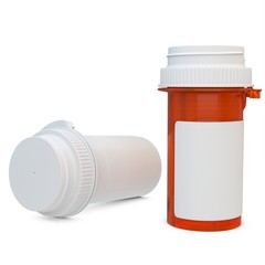 3d amber plastic medical container