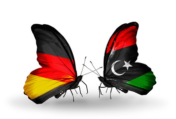 Two butterflies with flags Germany and Libya