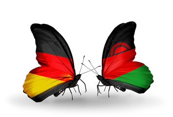 Two butterflies with flags Germany and Malawi