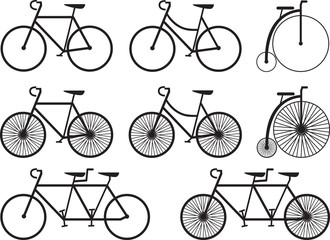 Bicycles collection illustrated on white