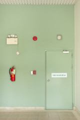Fire escape door ,Fire Extinguisher, Fire alarm