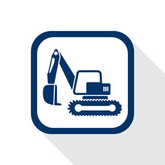 square blue icon excavator with long shadow