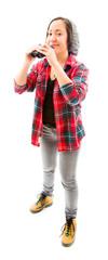 Young woman holding binoculars