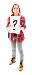 Worried young woman showing question mark sign