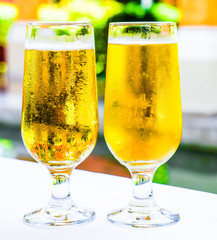 Beer glasses outdoors