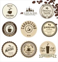 coffee retro badges collection
