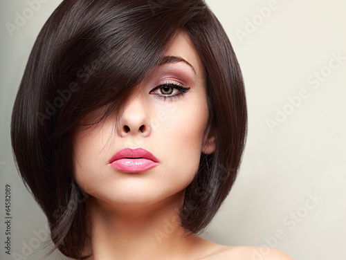 Beautiful bright makeup woman with black short hair