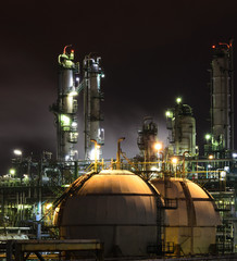 petrochemical plant on night