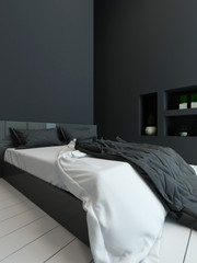 Black colored bedroom interior with alcove