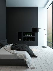 Contemporary black and white bedroom interior